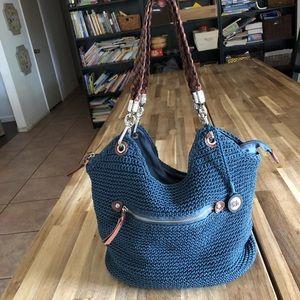 The Sak Navy Blue Woven Bag w Leather details